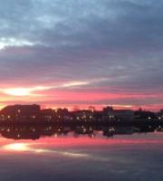 La vista della Darsena al tramonto